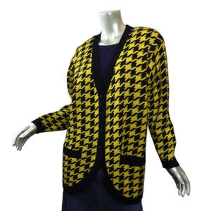 90s Funky Planet Brand Giant Houndstooth Cardigan